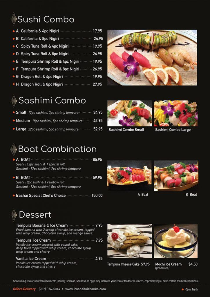 sushi combo menu