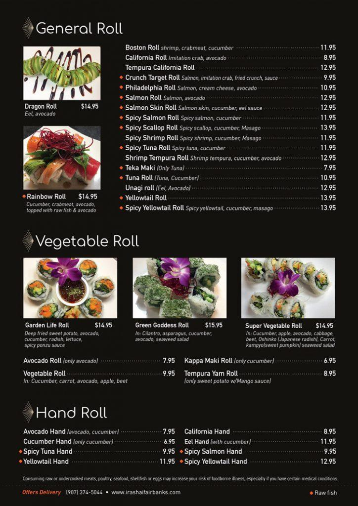 general roll menu