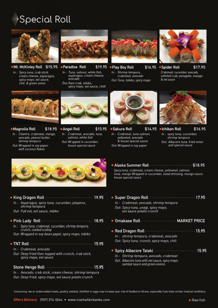 special roll menu